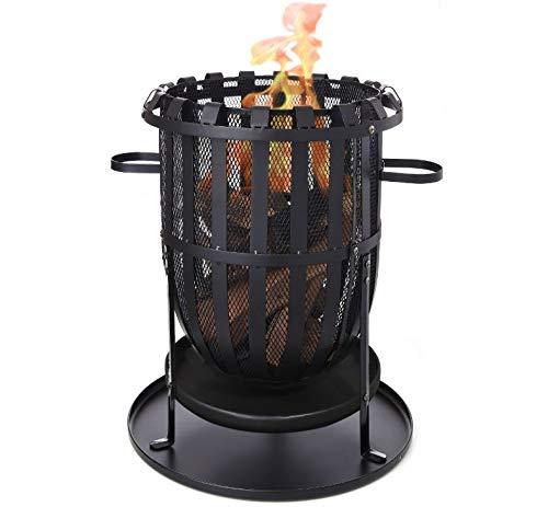 Tarrington House Feuerschale mit Gitterschutz- aus Stahl - für Nette Abendende mit den Freunden - Maße von 305 cm x 51,5 cm x 51,5 cm (H x B x T)