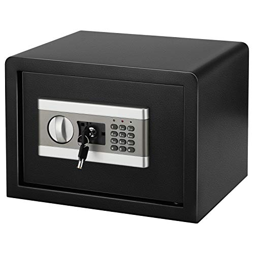 KKTECT Cajas Fuertes Pequeñas para Casa, Cajas Fuertes Empotrables Convencionales Contraseña Electrónica Digital para Hoteles, Totalmente de Acero, para Montaje en Pared o Suelo (0.8CUB)