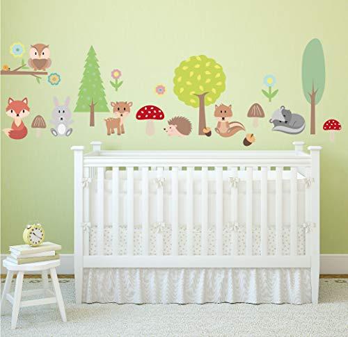 Wandsticker Set für Kinder/Wandtattoo für Möbel, Wände, Türen und vieles mehr/Wandaufkleber für Kinderzimmer und Babyzimmer wiederablösbar (Waldtiere)