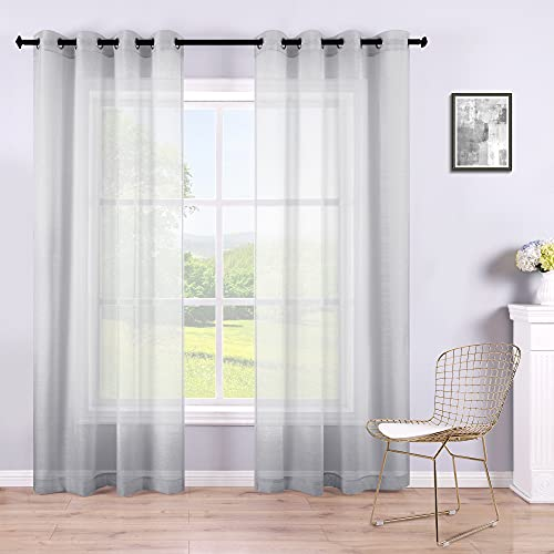 Gray Sheer Curtains 84 Inches Long for Bedroom 2Pack Set of 2 Grommet Window Panel Eyelet Top Voile Semi Sheer Drapes See Through Light Grey Sheer Curtains for Living Room Girls Room 52x84 Inch Length