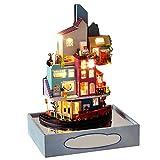 Serria Puppenhaus Bausatz Holz Modell Set Möbliert Zimmer,Himmel Garten Dollhouse DIY Kit Geschenk...