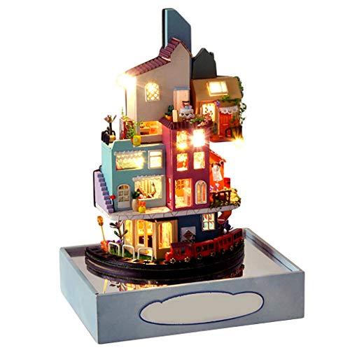 WARMWORD Miniatura Mini Tamaño Casa de Muñecas Kits de Modelos de Construcción de Muebles de Madera Juguetes Casa de Muñecas DIY Dia de San Valentin Regalo de cumpleaños