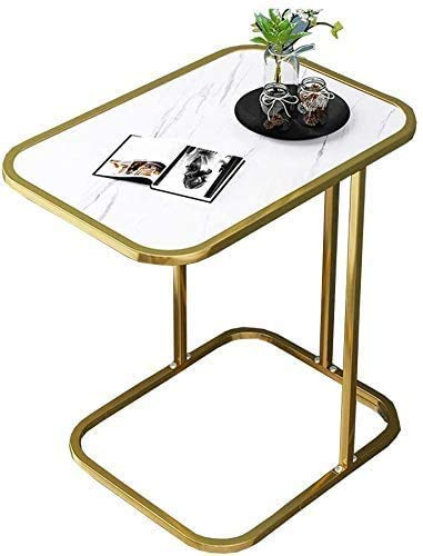 CX White Coffee Table Side Tables Laptop Table C Shape Side Living Room Sofa Coffee Removable MDF Top Metal Wrought Iron End Bedside Spacesaving,Gold Side Table/Gold