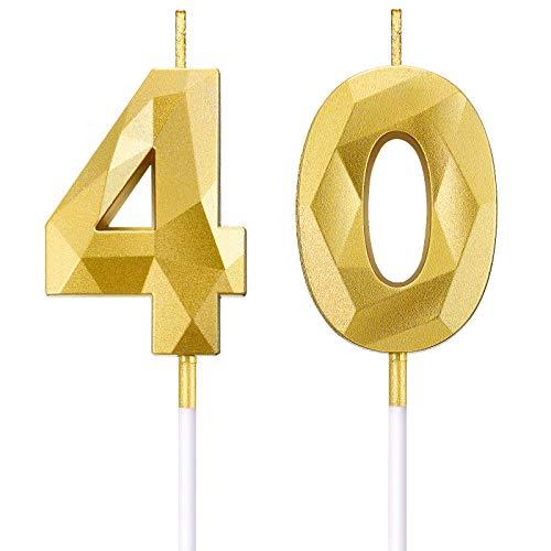 BBTO Bougies de Numéro de 40e Anniversaire 3D Bougies de Gâteau en Forme de Diamant Décoration de Gâteau Topper de Numéro 40 pour Anniversaire Mariage Célébration Fournitures, Or