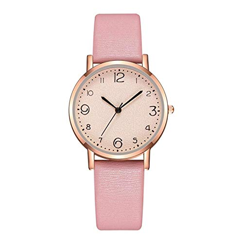 CMXUHUI Moderno y generoso, una buena opción para tu reloj de mujer de moda ultrafino, reloj de cuarzo casual, correa de piel para mujer, reloj de mujer (color: rosa).