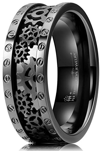 THREE KEYS JEWELRY 8mm Mens Gear Ring Black Zirconium Steampunk Pinion Bolts Ring Wedding Bands Punk Seal Rivet Pattern Size 12.5N