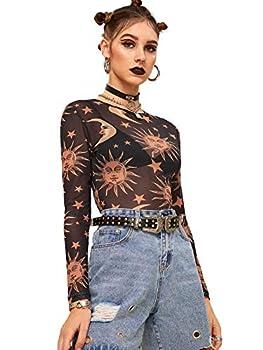 SweatyRocks Women s Long Sleeve Mock Neck Butterfly Print Sexy Sheer Mesh Crop Top # Black S