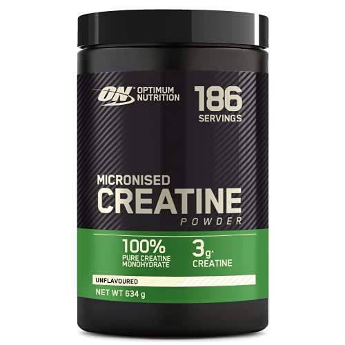 Optimum Nutrition Micronised Creatine Monohydrate, Créatine Monohydrate Micronisé en Poudre, Non Aromatisé, 186 Portions, 634g, l'Emballage Peut Varier