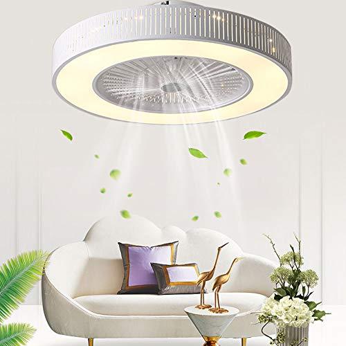 OUKANING Ventilador de Techo con iluminación, Velocidad del Viento Ajustable, Regulable con Control Remoto, Ventilador de Techo LED de 60 W Ultra silencioso para Dormitorio, Ø58CM, Blanco