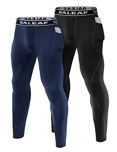 BALEAF Men's Sports Compression Pants Basketball Tights Running Leggings with Pockets Pack of 2 Black/Navy M