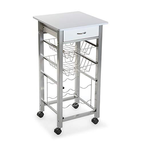 Versa Perth Carro verdulero Blanco de Cocina y botellero con cajón y cestas con 4 Ruedas, Metal, PVC y Madera MDF, 82 x 40 x 40 cm