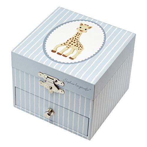 Trousselier - Sophie Die Giraffe - Schatztruhe & Musikschmuckdose - Spieluhr - Ideal für Kinder - Phosphoreszierend - Leuchtet im Dunkeln - Musik Love Story - Farbe blau