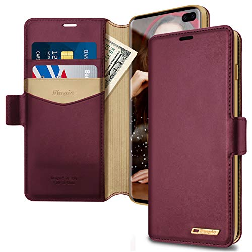 Fingic Samsung Galaxy S10 Plus Case, S10 Plus Wallet Case, PU Leather Wallet Case 2 ID & Credit Cards Slots Holder Side Pocket Kickstand Feature Flip Case Cover for Galaxy S10 Plus (2019) - Wine Red