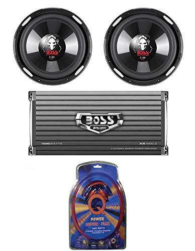 boss 10 inch car subwoofers 2 BOSS P106DVC 10 Inch 4200W Car Subwoofers + 1600W 2-Ch Amp + 4 Gauge Amp Kit