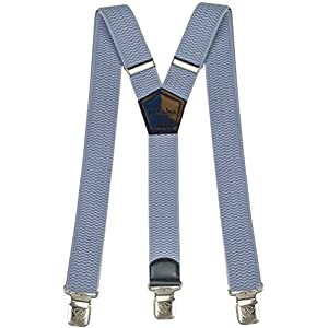 Mens Suspenders Wide Adjustable and Elastic Braces Y Shape with Very Strong Clips – Heavy Duty