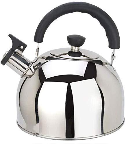 Bouilloire Pratique Siffling KettleteAppot 304 en Acier Inoxydable Stovetop Teaklert Siffloir Kettle Induction Cuisinière à gaz Argent UOMUN (Size : 6L)