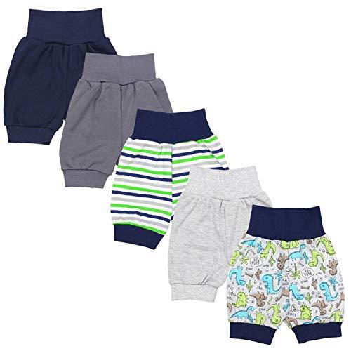 TupTam Unisex Baby Pumphose Sommershorts Baumwolle 5er Pack, Farbe: Junge, Größe: 62/68