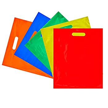 Plastic Shopping Bags for Merchandise Die Cut Handles  5 Colors 12 x 15 in 100 Pack