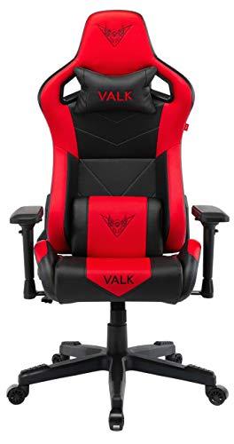 VALK Gaia - Silla Gaming Oficina Diseño Ergonómico Ajustable Reclinable (Rojo)