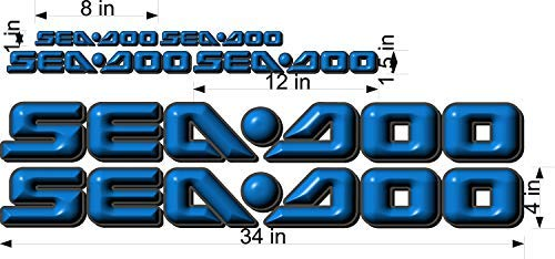 SEA-DOO-BLUE -3D-LOGO-4x34-DECAL-SET-GRAPHIC-STICKER-PACKAGE, REPLACEMENT