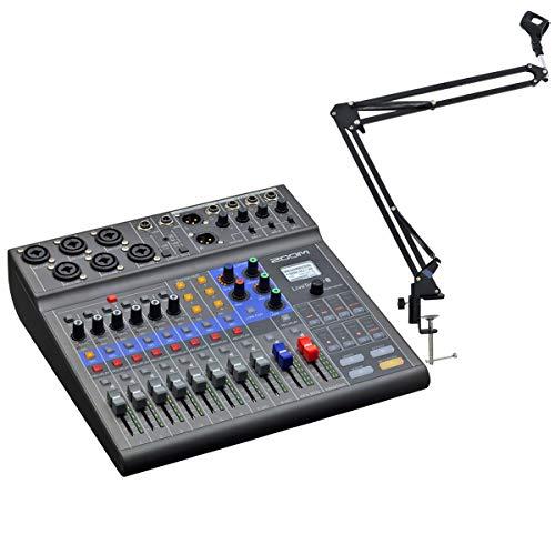 Zoom LiveTrak L-8 Podcast-Mixer Mischpult mit Interface + keepdrum NB35 Gelenkarm