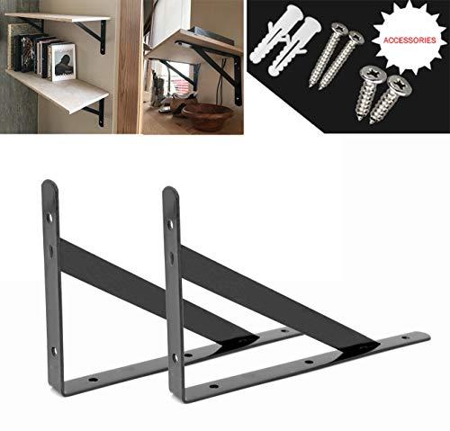 Ouvin Schwarz Weiß Schwimmendes Regal Robuste Dreieckige Wandhalterung Regalhalterung 8 inch
