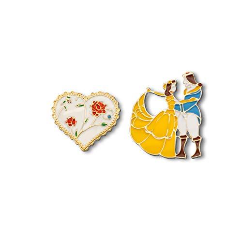 G-Ahora Broches de la Bella y la Bestia Broches de botón de la Princesa y el Príncipe de la película, Juego de 2 alfileres de Dibujos Animados para niños y niñas
