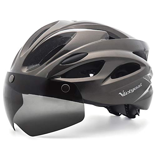 Victgoal Adults Bike Helmet for Men Women Detachable Magnetic Goggle Visor Bicycle Helmet with LED Rear Light Cycling Road Mountain Cycle Helmet (Ti)
