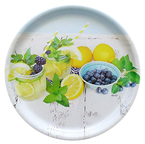 Lashuma Rundes Serviertablett Design: Limette, Italienisches Kunststofftablett 40 cm Ø, Bedrucktes Dekotablett rund