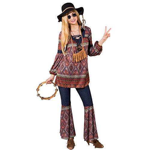 Orlob Fasching Damen Hippie Kostüm Tunika Schlaghose Coachella Style 70er Jahre (50/52)