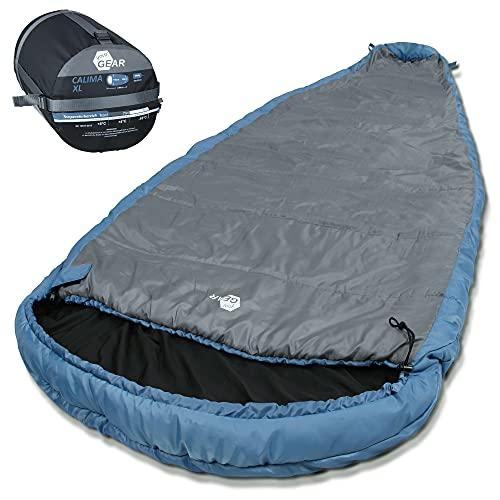 your GEAR Campingschlafsack Calima XXL -10°C extrem breiter Ellipsen-Schlafsack 230x110cm mit Kapuze Blau Grau