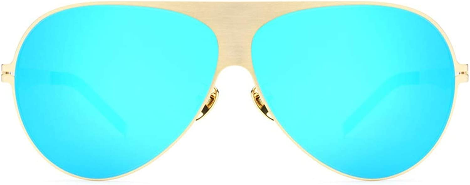 Lady Sunglasses Outdoor Fashion Sunglasses Unisex 80s Retro Style Designer Shadow UV400 Lens (color   gold Frame bluee Piece, Size   Free)