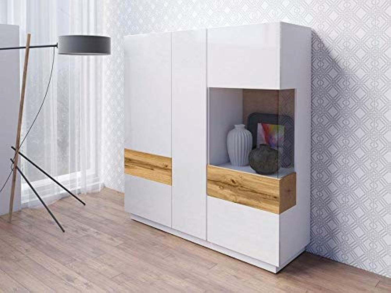 Moebelaktionsshop24 HIGHBOARD VITRINE Schrank Wohnzimmer WEI Hochglanz VOTANEICHE MATT 37610533