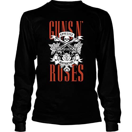 Gun N' Roses T Shirt, Hard Rock T Shirt - Long Sleeve Tees (S, Black)