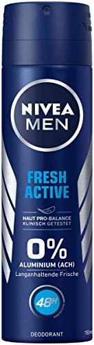 NIVEA MEN Fresh Active Deo Spray im (150 ml), Deo ohne Aluminium (ACH) mit erfrischender Formel, Deodorant mit 48h Schutz pflegt die Haut