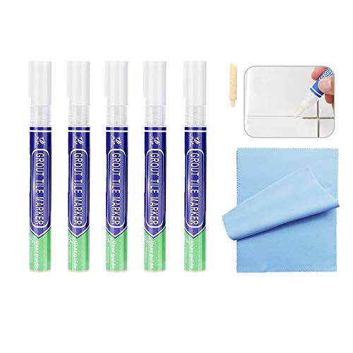 5 Stück Fugenstift Weiß, Fugenmörtel Fliesen Stift Fugenmörtel Restaurierung Stift, Fugen-Reparatur-Marker für Belebung und Wiederherstellung von Fliesenfugen