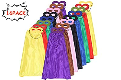 Superhero Capes for Kids Capes and Masks Set DIY Halloween Capes Costume and Dress Up for Superhero Birthday Party Supplies 32 Pcs (16 Sets)