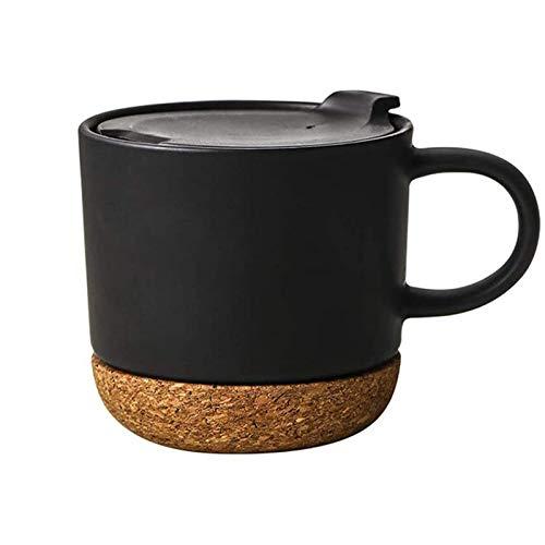 Yiyu Kaffeetasse, 400 Ml, Keramiktasse, Isolierter Kork Und Spritzbecherdeckel, Milchbecher, Mattschwarz x (Color : Black)