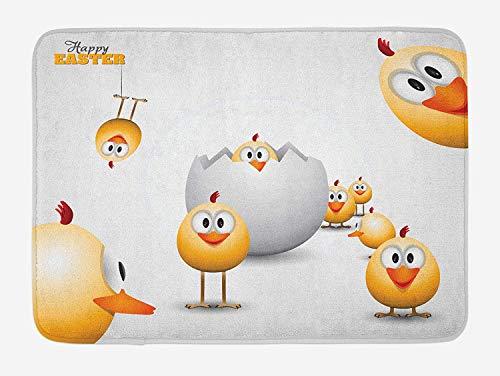 Paas-badmat, gelukkige kuikens die uit een gebarsten ei komen grappige cartoon stijl dieren, pluche badkamer decoratiemat met niet-slip achterkant, 23,6 x 15,7 inch, oranje geel wit