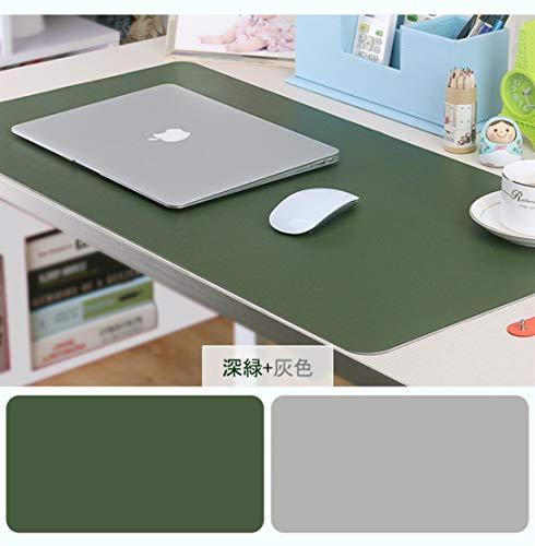 Ansimple デスクマット PUレザー マウスマット パソコンマット ゲーミングマウスパッド 事務所机用 光学式マウス対応 傷防止 防水 両面 大型 多機能 (600*300*2(mm), 深緑 + 灰色)