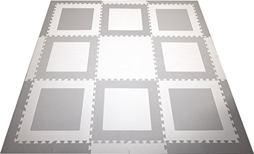 SoftTiles Kids Playmat- Geometric Squares Premium Interlocking Foam Kids Puzzle Mat Light Gray and White Large 2' Foam Tiles with sloped Edges- 6.5 x 6.5 ft.- SCSQWH9