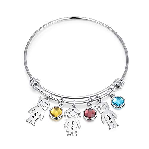 Personalized Bangle Bracelet with Boy Girl Charms Custom Names Mother Daughter Jewelry with Simulated Birthstone Family Presents (3 Pendants+ 3 Stones)