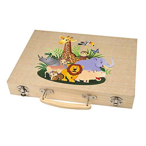Malkoffer 'PAINT BOX 66' mit 11 Utensilien - 66-teiliges Malset für Schule und Co.: Der kompakte Malkasten im praktischen Holzkoffer!, Motiv:Motiv 06