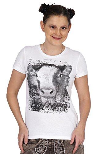 Trachtenshirt Damen - Kurzarm mit Motiv Kuh Kölbi T-Shirt für Frauen und Mädchen Oktoberfest Freizeit