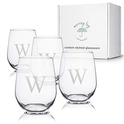 Monogrammed Stemless Wine Glasses Set of 4, Barware Glassware with Sandblasted Monograms, 17 oz Capacity Each (W)