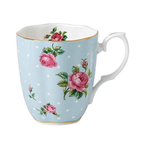Royal Albert - Taza (0,4 L), diseño Vintage de Rosas, Color Azul