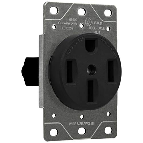 50 Amp Range Receptacle Outlet for RV and Electric Vehicles, NEMA 14-50R, 3- Pole, 4 Wire (8, 6, 4 AWG Copper Only), 125/250V, -BK, Black - ENERLITES 66500