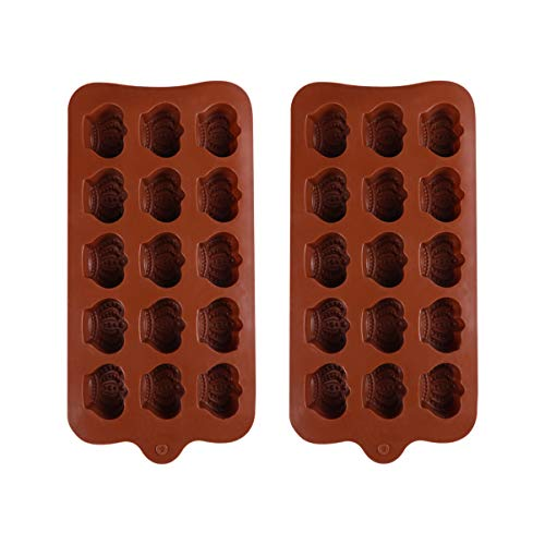 Yarnow 2pcs Silicone Chocolate Molds Crown Shape Candy Baking Mold for Ice Cubes Desert Biscuit Bread Fondant DIY Making Tool