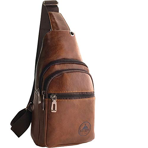 Sling Bag – Soft Premium Faux Leather Crossbody Backpack Sling Pack (Brown 1D)