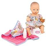 Götz 2153042 Aquini Girl Minimaxi Puppe - 33 cm Badepuppe ohne Haare mit blauen gemalten Augen - 7-teiliges Set mit Schnuller - Babypuppe ab 18 Monaten